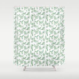 Winter Birds and Foliage Pattern (Green) Shower Curtain