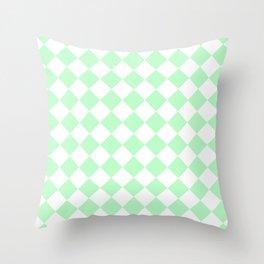 Diamonds - White and Mint Green Throw Pillow