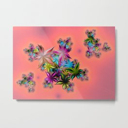 FRACTAL ART SUMMER FLOWERS Metal Print