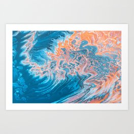 Blue Orange Abstract Art Art Print
