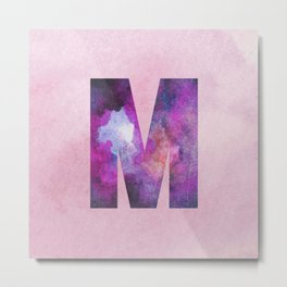 Pink Space Galaxy Initial Monogram Letter M Metal Print