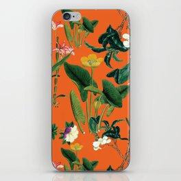 Vintage wild flowers orange iPhone Skin