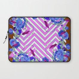 Geometric coffee brown & pink  Morning Glories Laptop Sleeve