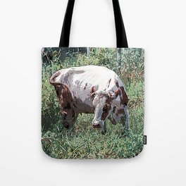 Cow on a summer meadow Tote Bag