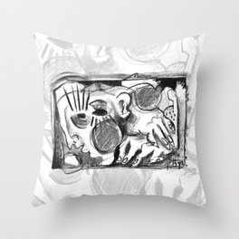 The Shaping of a Man - b&w Throw Pillow