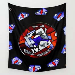 Red and Blue Montreal Stain Glass Window Wall Tapestry