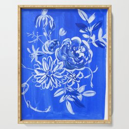 blue and white: floral composition Serving Tray