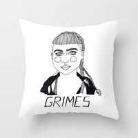 grimes Throw Pillows featuring Grimes by ☿ cactei ☿
