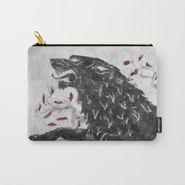 Grey wolf on the snow Carry-All Pouch