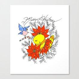 """Poinsettia Pose"" Canvas Print"