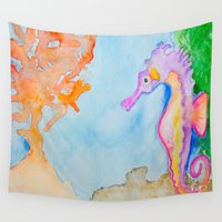 sea horse Wall Tapestries featuring Sea Horse 2 by HollyJonesEcu
