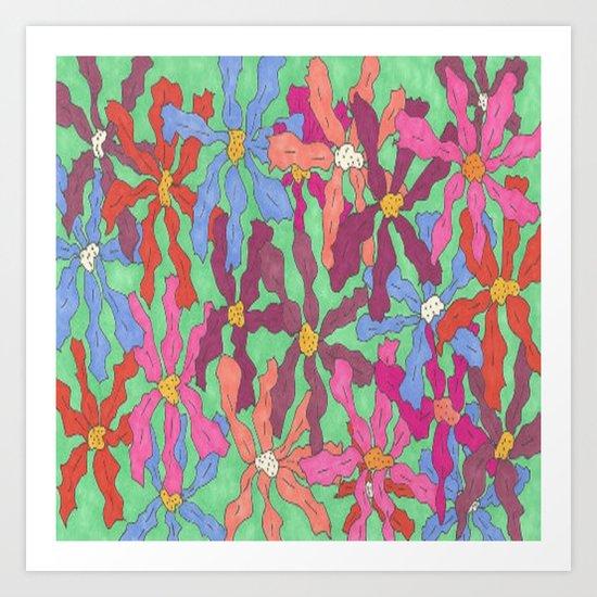 Colorful Retro Floral Print Art Print