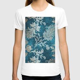 Aqua Teal Vintage Floral Damask Pattern T-shirt