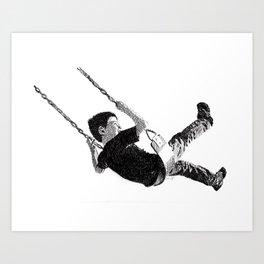 Boy in Swing Art Print