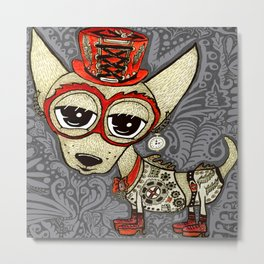 Steampunk Chihuahua Victorian Ornate Metal Print