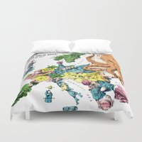political Duvet Covers featuring Vintage Political Cartoon Map of Europe (1877)  by BravuraMedia