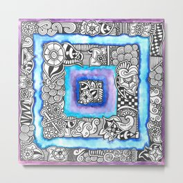 Zentangle Inspired Artwork Blue and Purple Squares... Metal Print