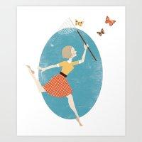 butterflies Art Prints featuring Butterflies by Zara Picken