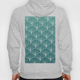 White scallops pattern on deep emerald blue ombre gradient pattern Hoody