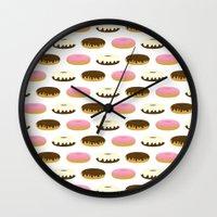 donuts Wall Clocks featuring Donuts by Sara Showalter