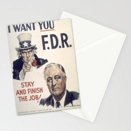 Vintage poster - I Want You FDR Stationery Cards