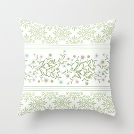 Delicate floral pattern with decorative bands. Throw Pillow