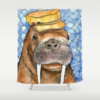 kevin russ Shower Curtains featuring Russ by Amy Nickerson