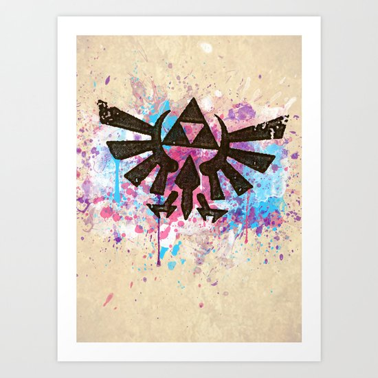 Splash Triforce Emblem Art Print