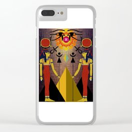 Hathor under the eyes of Ra -Egyptian Gods and Goddesses Clear iPhone Case