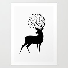 Deer moon Art Print