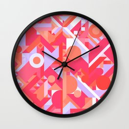 GEOMETRY SHAPES PATTERN PRINT (WARM RED LAVENDER COLOR SCHEME) Wall Clock
