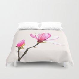 magnolia watercolor painting Duvet Cover