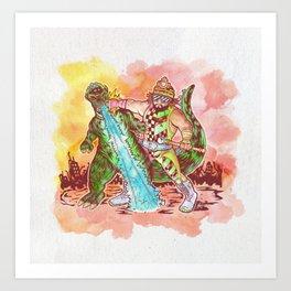 Macho King of Monsters Art Print