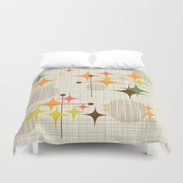 Mid Century Modern Starbursts and Globes 3a Duvet Cover