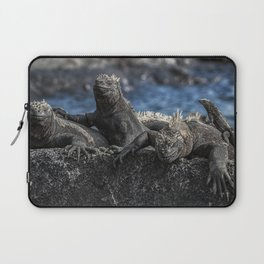 Iguanas relaxing sunbathing on rock at beach Laptop Sleeve