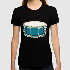 Drum - Red LARGE Black Womens Fitted Tee