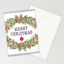 Merry christmas and happy new year white greeting card wreath light white background Stationery Cards