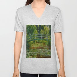 Claude Monet Impressionist Landscape Oil Painting-The Japanese Footbridge and the Water Lily Pool, Unisex V-Neck