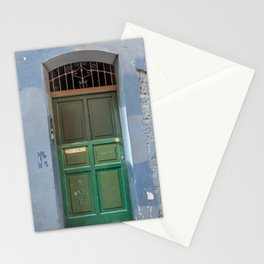 Wood green door in a medieval town Stationery Cards