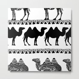 pattern with camel silhouette decorated with oriental ornaments  Metal Print