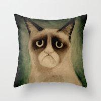 grumpy Throw Pillows featuring Grumpy! by Colunga-Art