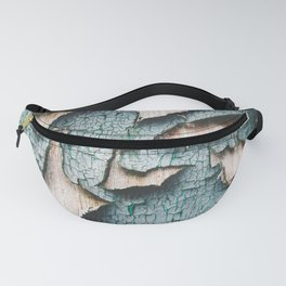 Rustic old light blue green peeling paint Fanny Pack