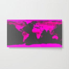 worLD MAP Fuchsia Pink & Gray Metal Print