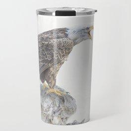 Bald eagle in winter snow Travel Mug