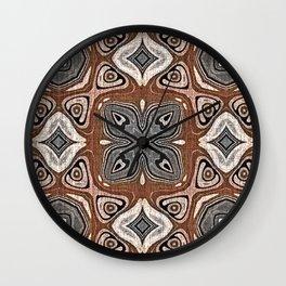 Gray Brown Taupe Beige Tan Black Hip Orient Bali Art Wall Clock