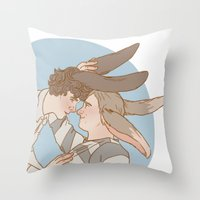 johnlock Throw Pillows featuring Bunnylock Boys by Stitchy