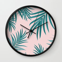 Palm Leaves Pattern Summer Vibes #1 #tropical #decor #art #society6 Wall Clock