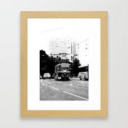 Tram on the street b&w Framed Art Print