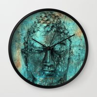 buddha Wall Clocks featuring Buddha by woman