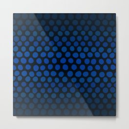 Slate Blue and Black Dots Ombre Metal Print